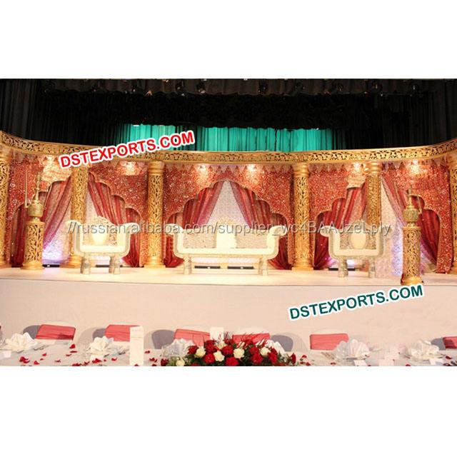 Мусульманская свадьба <span class=keywords><strong>Золотой</strong></span> резной столб этап Набор Новый дизайн волокно столбы