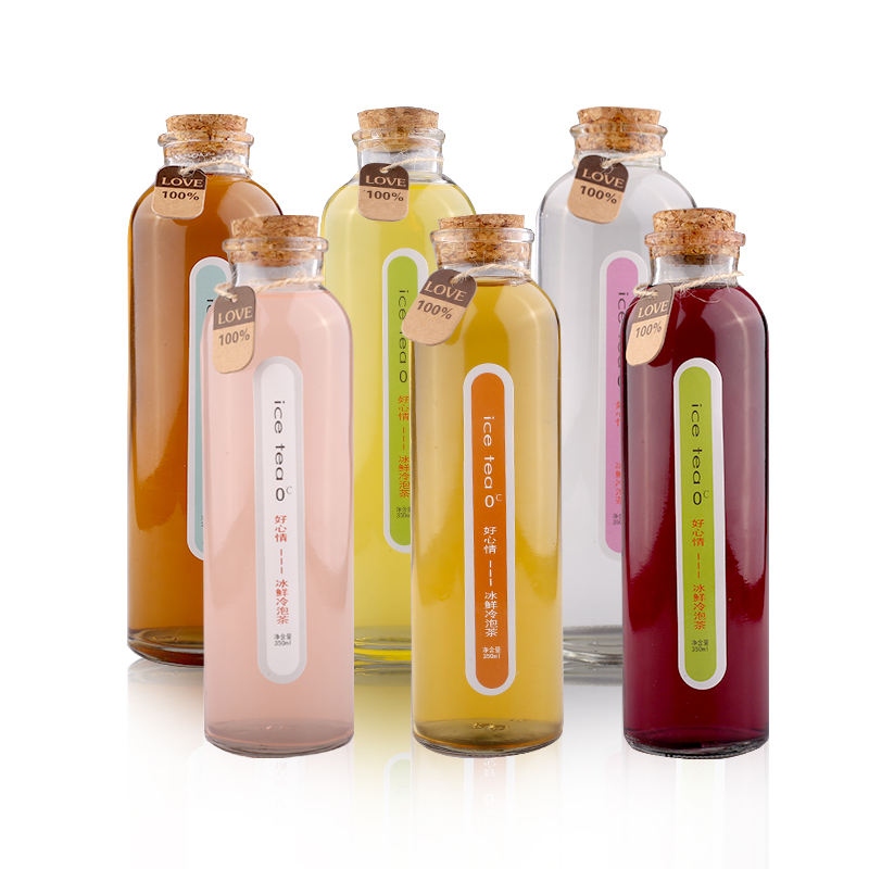 350ml 500ml Bubble Tea Glass Beverage Bottle With Cork Cap For Cold Pressed Juice Smoothies