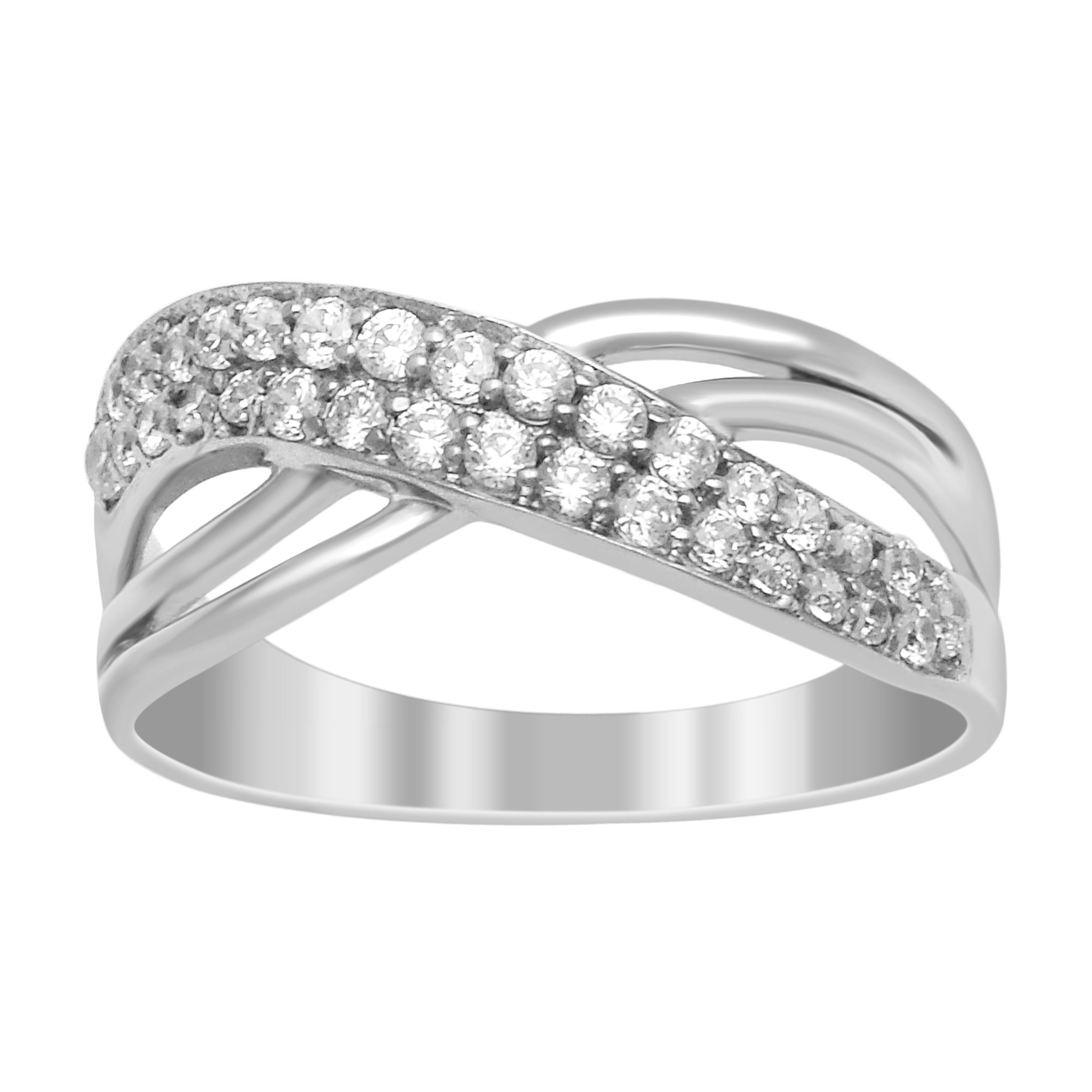 Stackable 925 Sterling Silver Three Shank White Simulant Diamond Women Ring