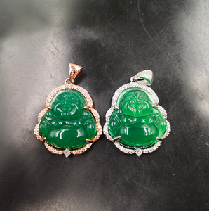 Jialin jewelry ins sale S925 silver female Burmese natural green Emerald jade laughing Buddha pendant necklace
