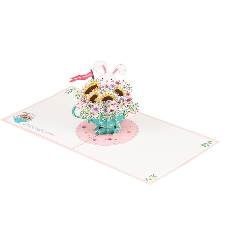 A Cup Of Flowers Greeting 3D Pop-up Birthday Card Vietnam Handmade Laser cut