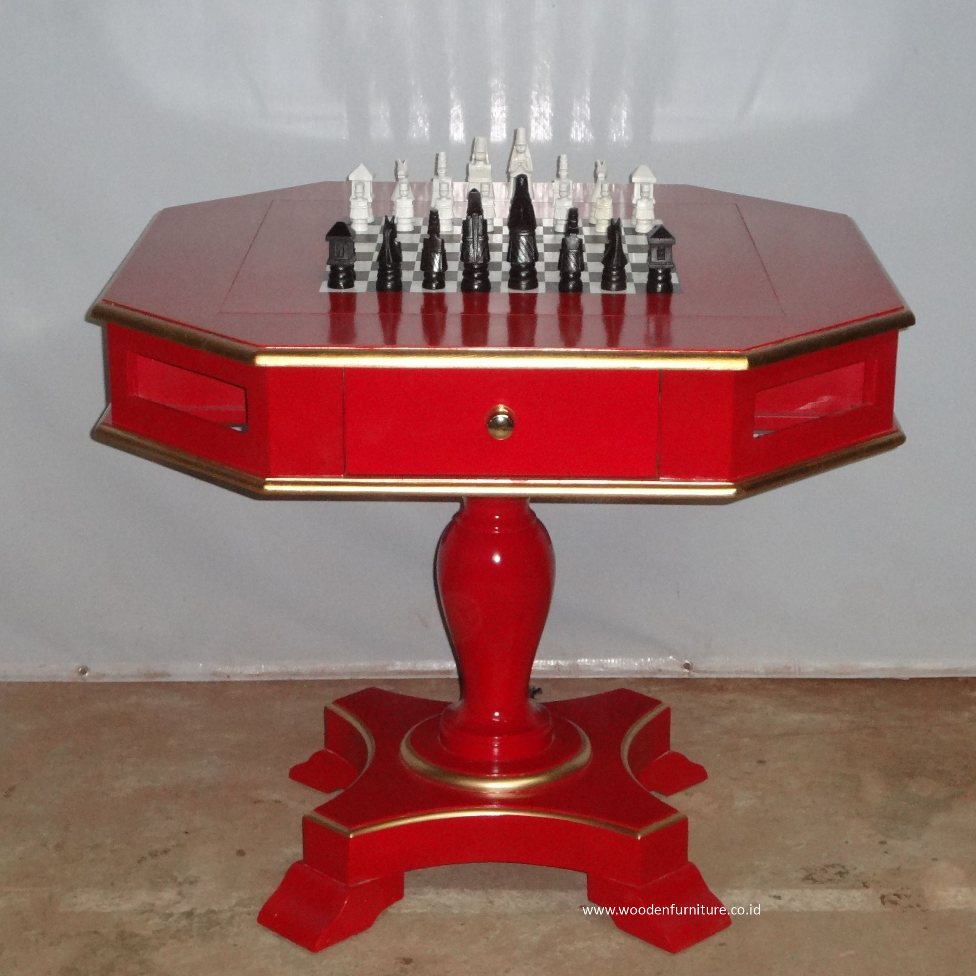 Antique Game Table Mahogany Painted Chess Table French Style Chess Set European Style Home Furniture