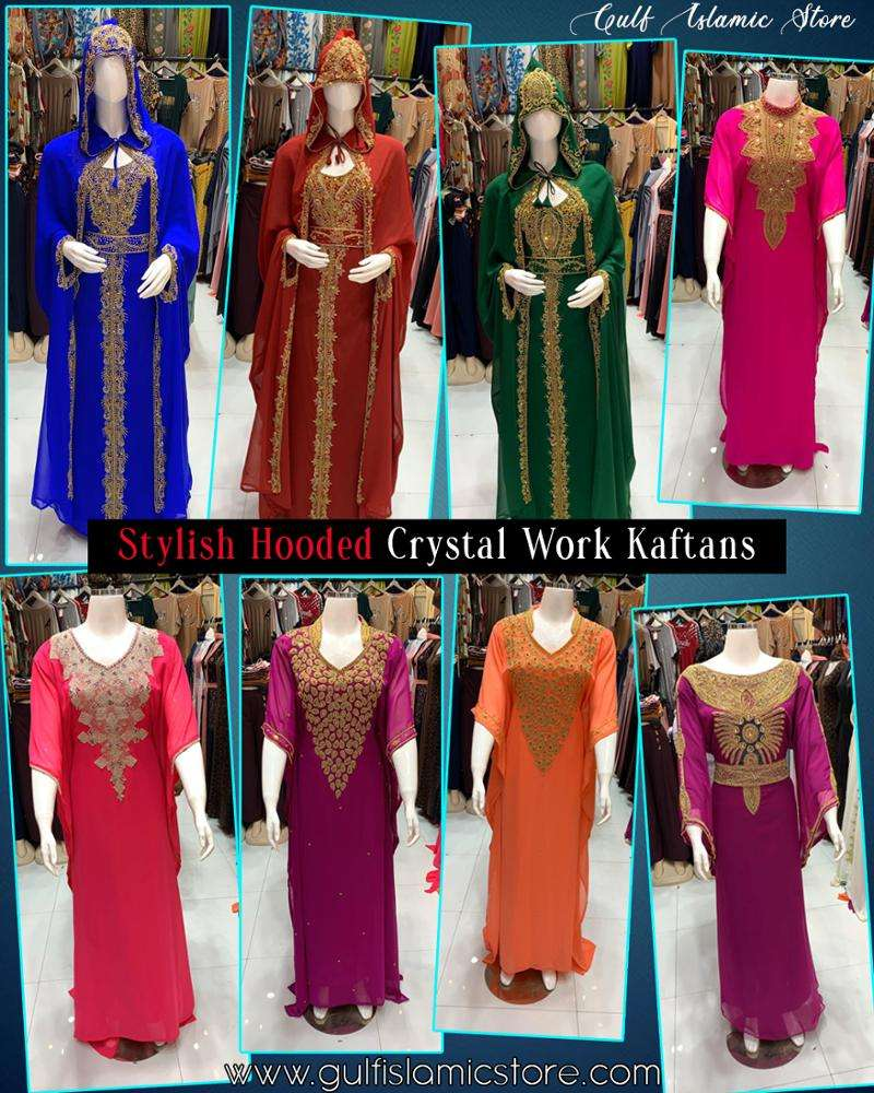 New Collections Modest Fancy Hooded Kaftans Crystal Work For Womens From Dubai Uae Export Worldwide At Factory Prices Scarf