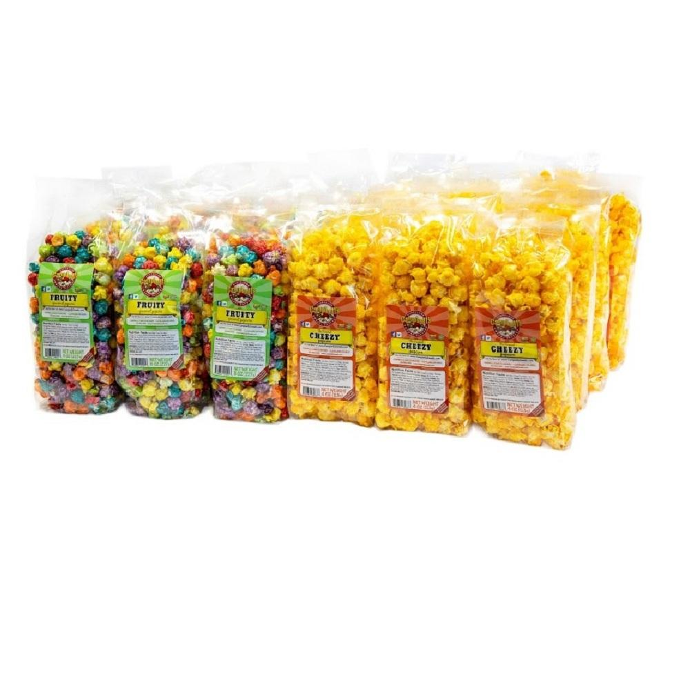 Candy and cheese coated flavor 12 Fruity Popcorn   13 Cheezy Popcorn