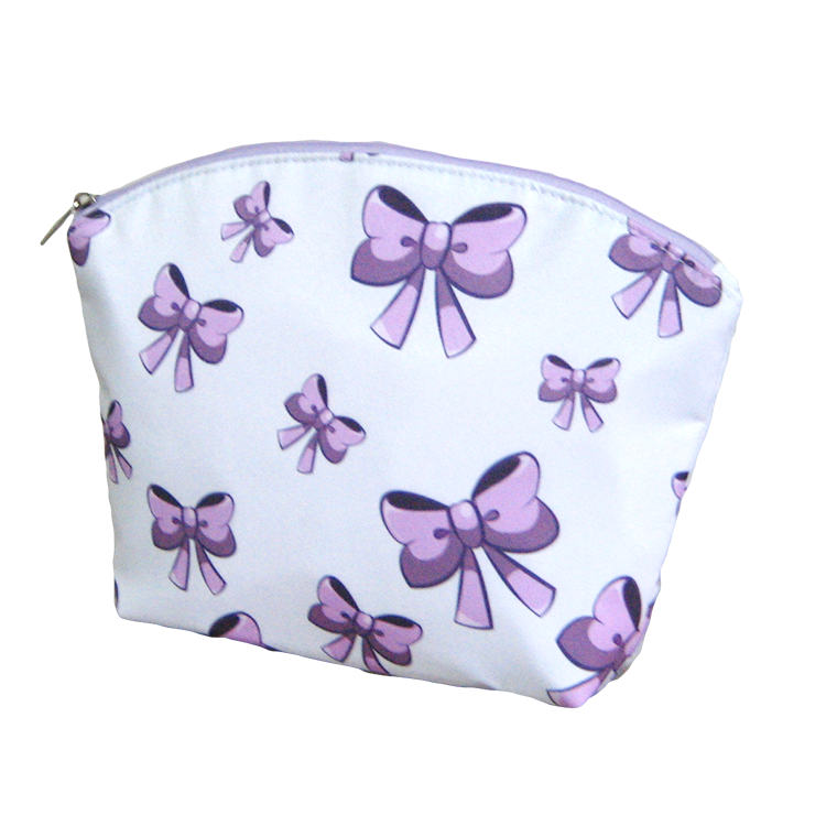 Pink Purple Ribbons Girl Teens Clam Shape Cosmetic Pouch
