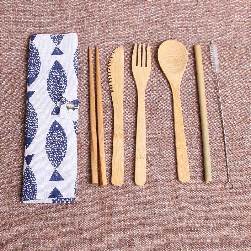 Biodegradable Bamboo Cutlery Travel Set With Bag, bamboo Spoon fork knife drinking straw clean brush chopsticks Set