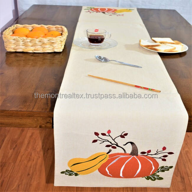 Wholesale Christmas printed 100 % Cotton Table Decoration Table Runner