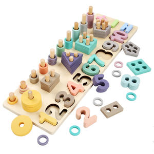 Montessori Math Shapes Puzzle Toys Wooden Blocks Learning Toys Number Counting Shape Stacker