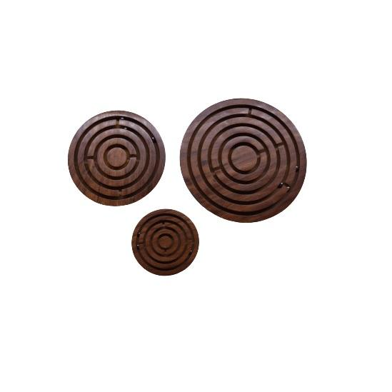 Round Maze and ball set of 3 puzzle game for kids and adults Made of high quality Wood Natural polished Finish for wholesale