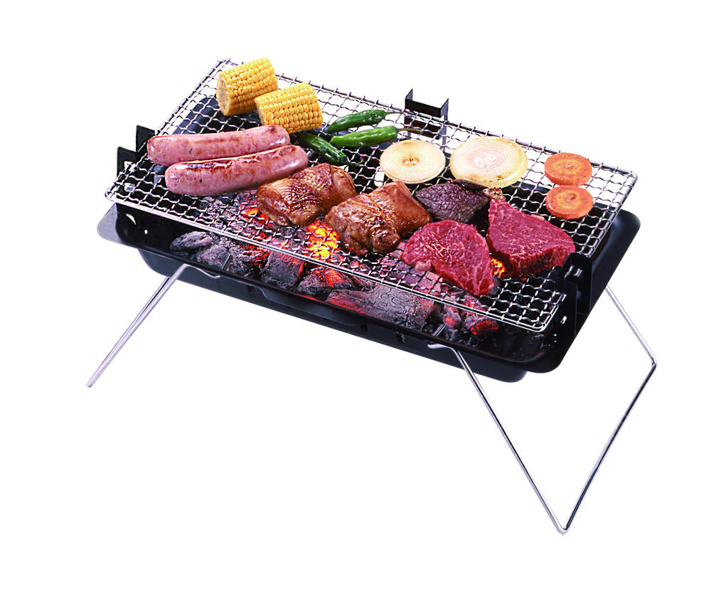Mini Charcoal Barbecue Grill Compact Size Adjustable Thin Folding Design Gridiron Included
