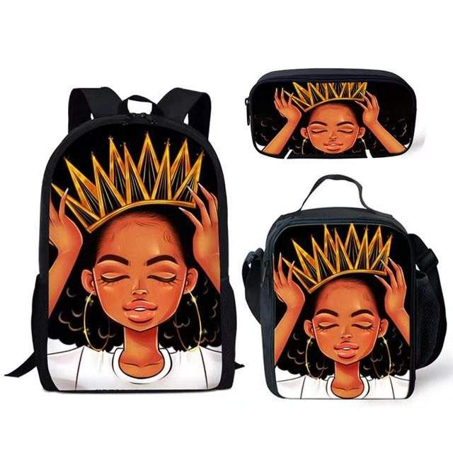 Customize Logo Popular Art African Backpack Primary School Hold Books And Pencil Case Lunch Box School American Girl Backpack