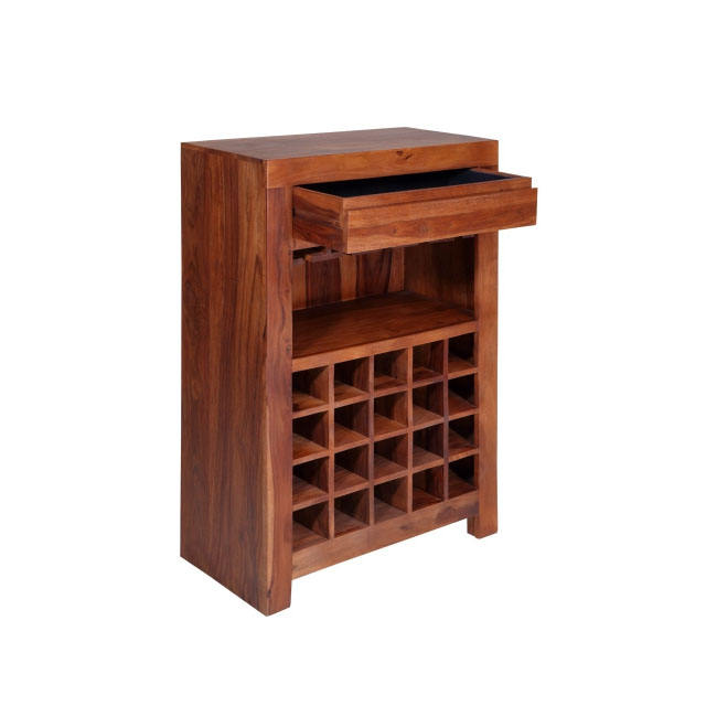 Solid Wood Wine Rack With 1 Drawer