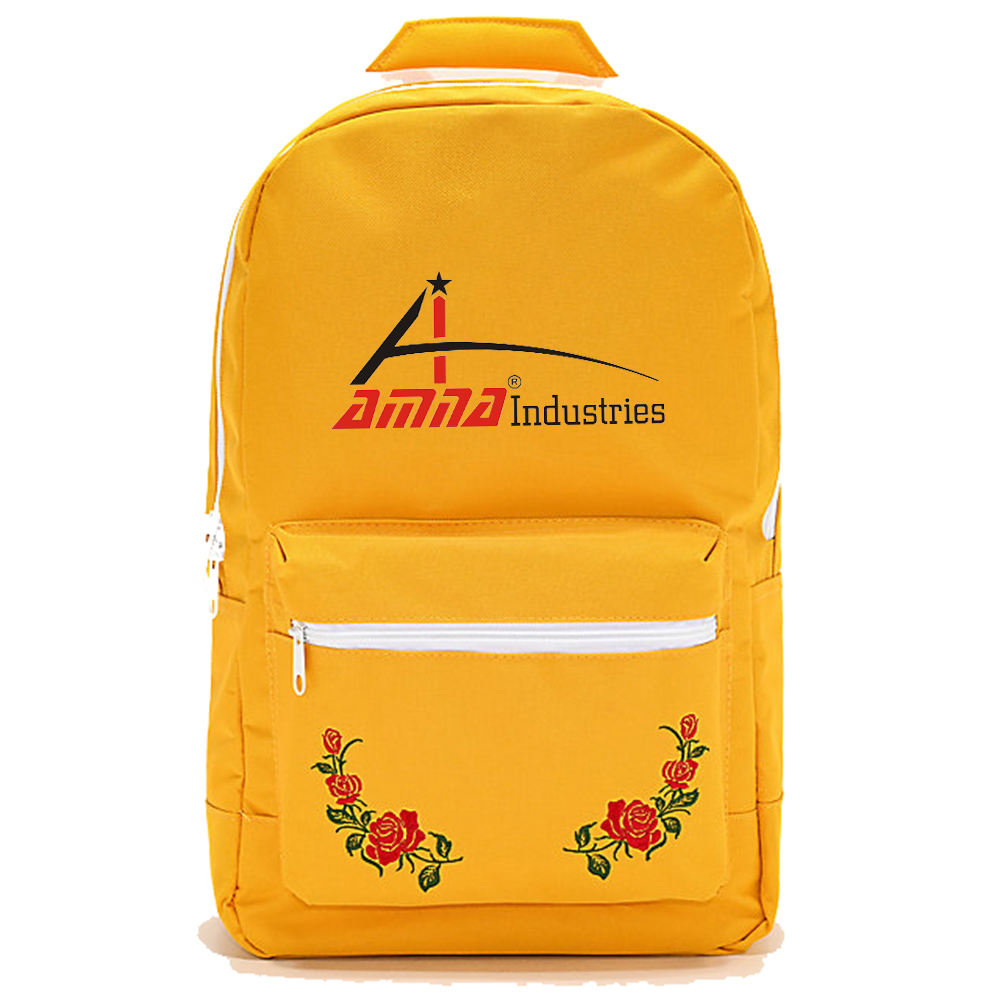 Yellow Color Flower Printed Back Packs Mountain Hiking Back Pack Bag