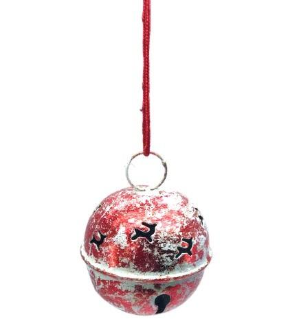 METAL IRON BIG ROUND RENDIAR DESIGN RED WHITE JINGLE BELL HANGING CHRISTMAS BALL