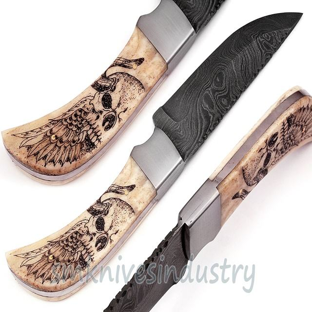 8.5 Inches Custom Hand Made Damascus Hunting Knife with Scrimshaw Handle Work (Smk1331)