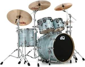 100% Authentic DW Collectors Series Finis_h Ply 5-Piece Shell Pack - Pale Blue Oyster with Chrome Hardware