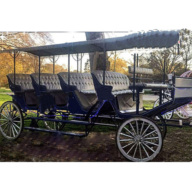 New Limousine Horse Carriage Tourist Long Horse Drawn Buggy Carriage Long carriage for Family Touring