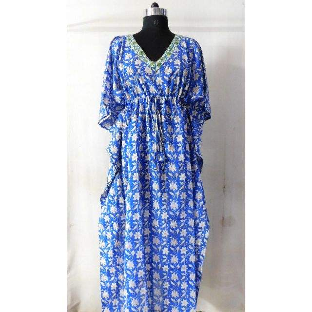Long sexy blue floral hippie evening dress pure cotton wholesale summer oversized beachwear designer bridal partywear kaftan