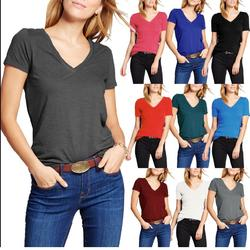 Women's Classic Short Sleeve V Neck T Shirt Ultra Soft Tri-blend Comfort Everyday Fit Tee