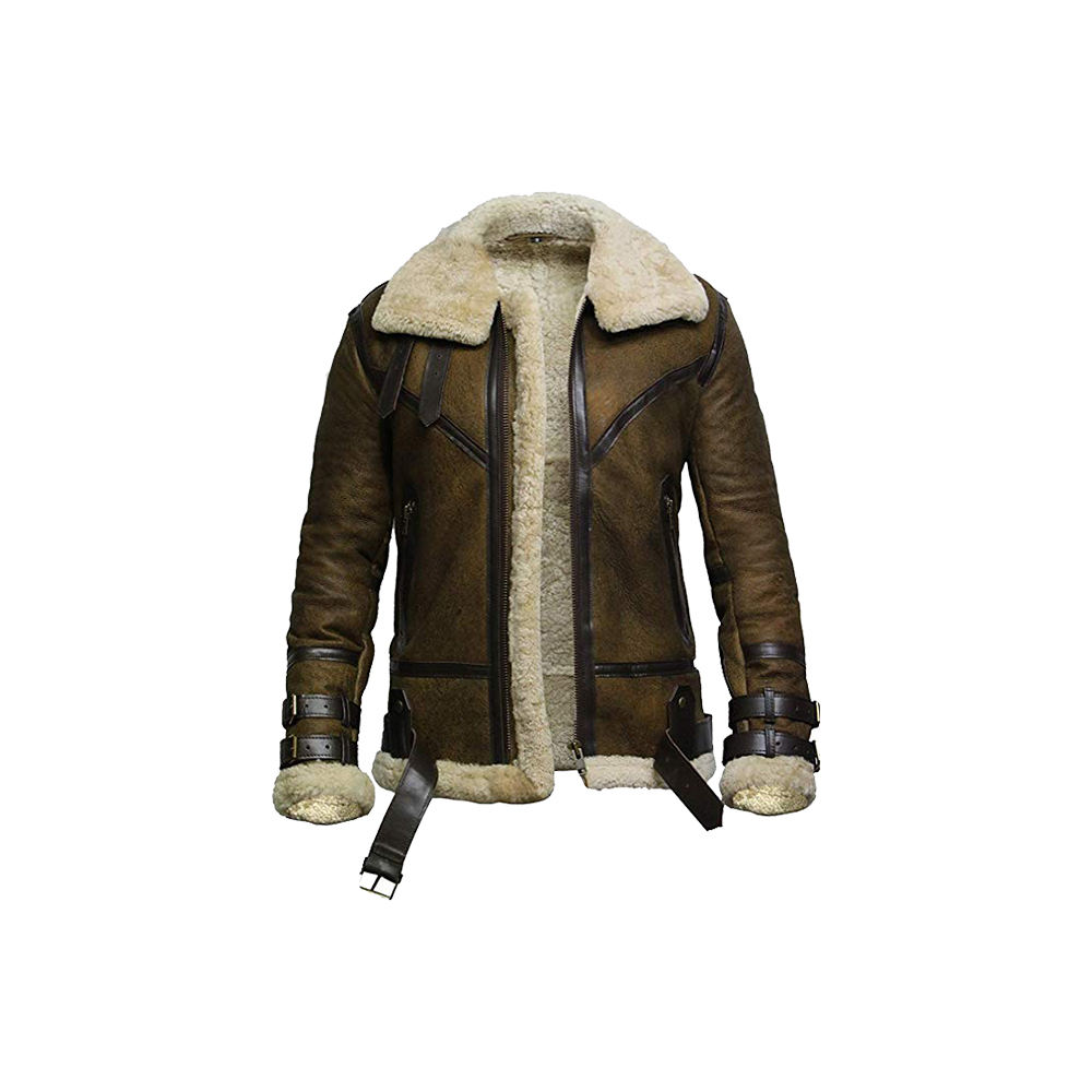 Men's Winter Real Sheepskin Shearling Aviator Jacket/Real white sheepskin Fur Winter Jacket/Latest Sheepskin Fur Jacket for Men