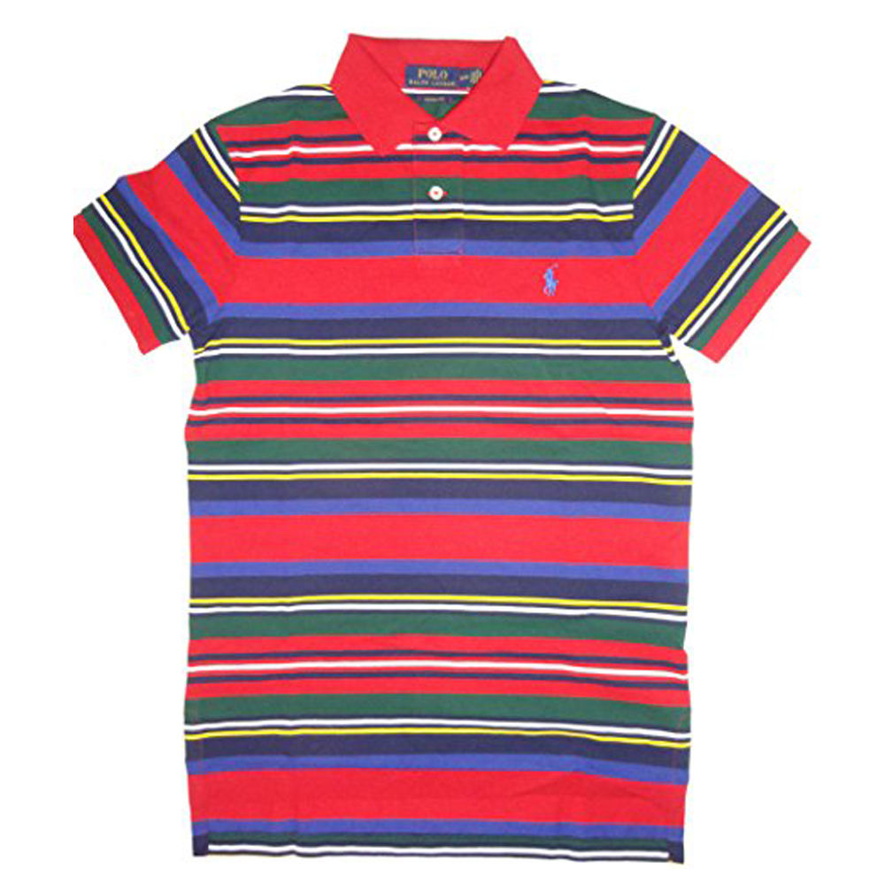 100% Cotton Yarn Dyed Striper Three Colour Polo Shirt