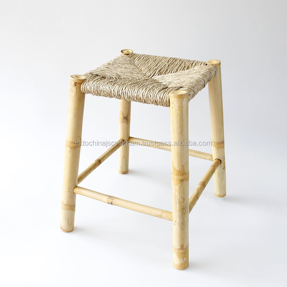 Bamboo Stool Chair woven seagrass seat, Bamboo Furniture Wholesale
