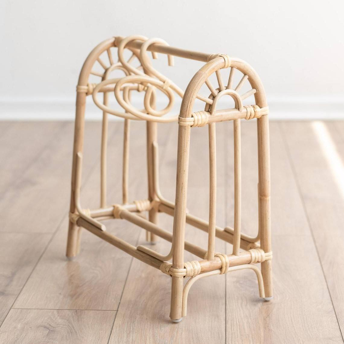 Natural rattan mini clothing rack for dolls from Vietnam