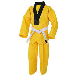 Private Logo Karate Training Wear Taekwondo Uniforms In Yellow Color