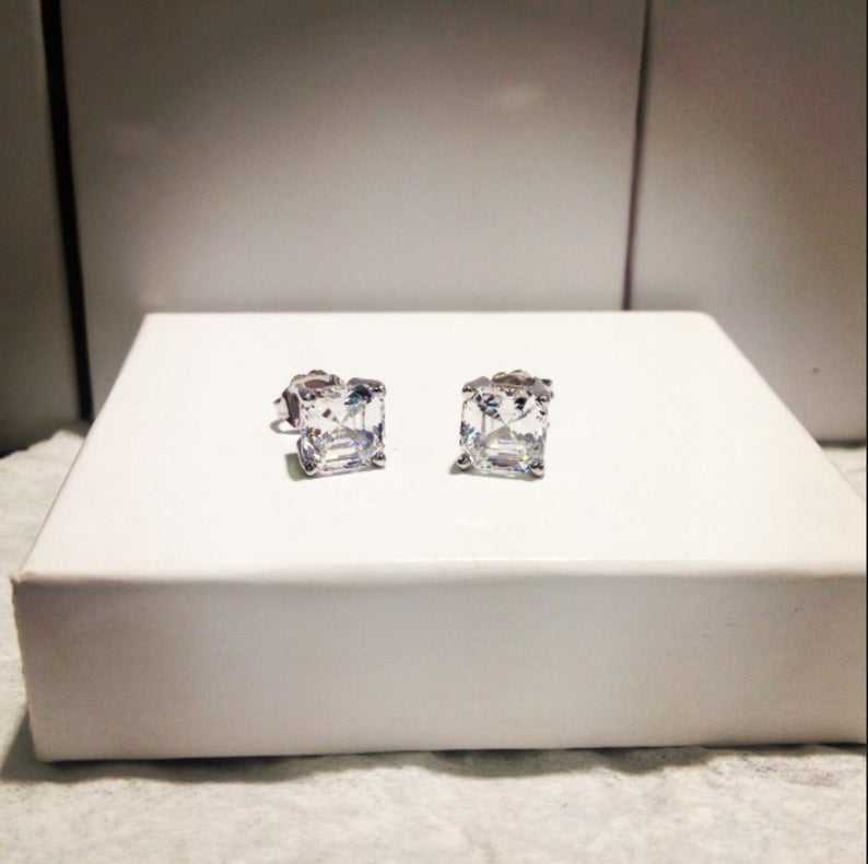 1 carat Brilliant Asscher Cut Highest Quality Moissanite Stud, Lab Created Stud Earrings 14k White Gold Push Back Earring