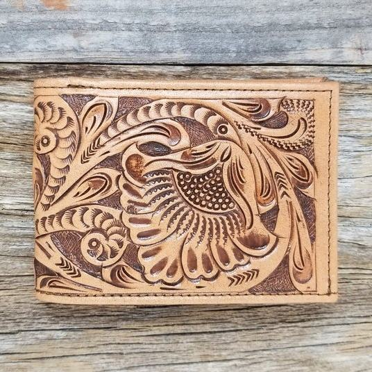 Tooled Leather Wallet, Purse Vintage Crazy Horse Clutch Men Coin Pocket Men LWT-0004