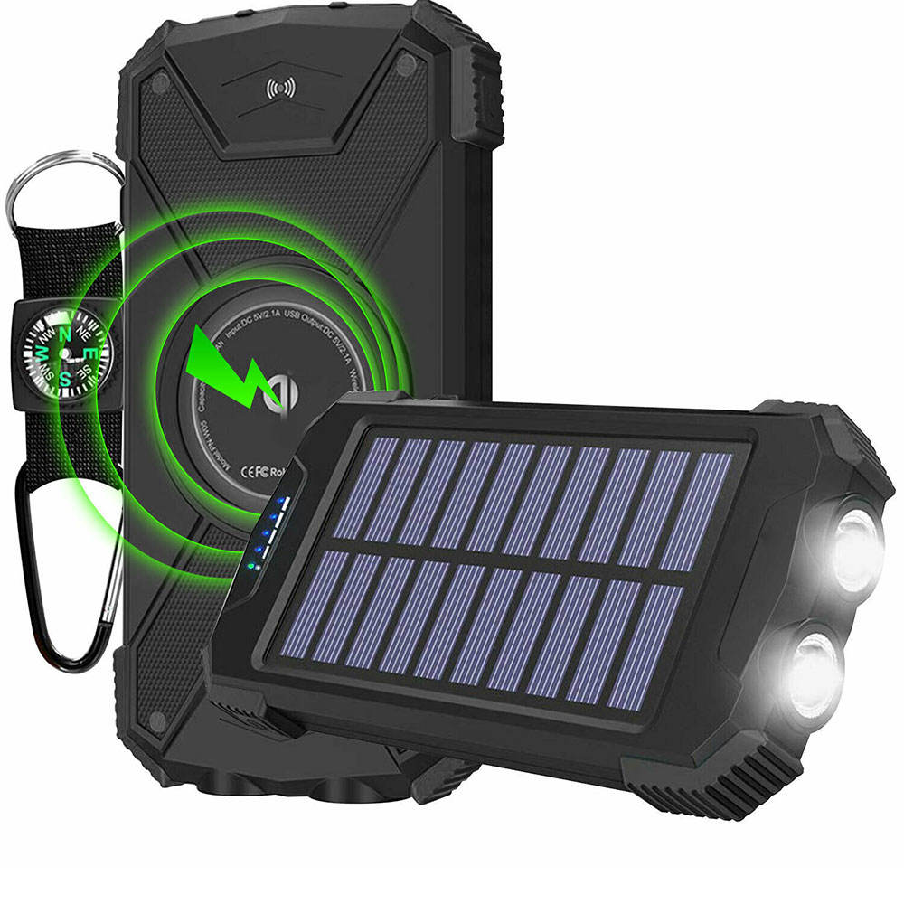 ACTIVE P o r t a b l e Wireless Charging Power Bank Solar Powered
