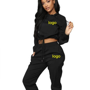 womens tracksuit jogger tracksuit set custom black crop top cotton fleece 300-320-340 GSM women winter tracksuit manufacturer