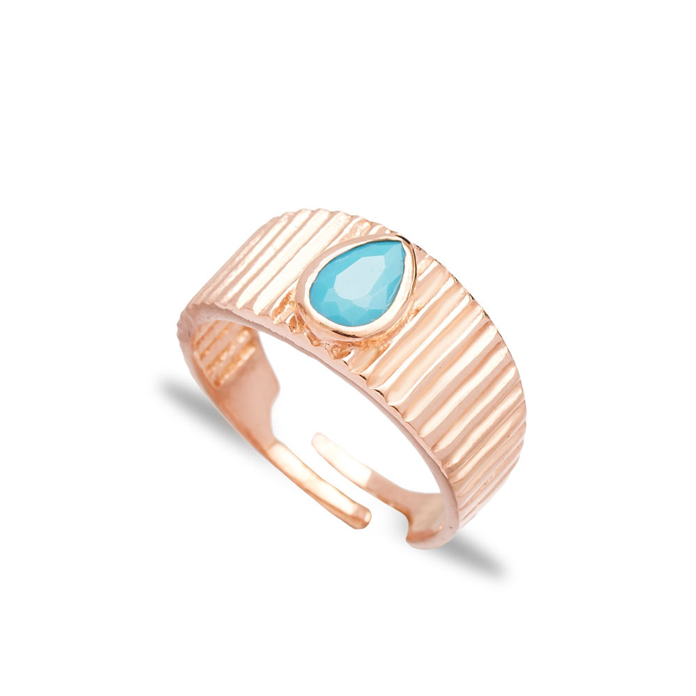 Ladies Little Finger Adjustable Ring Drop Shape Aquamarine Wholesale 925 Silver Sterling Jewelry