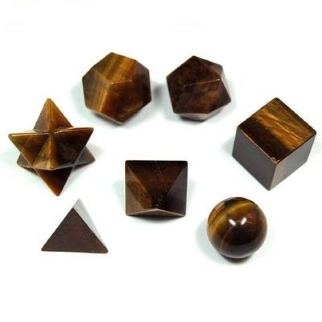 WHOLESALE NATURAL TIGER'S EYE 5 AND 7 PCS HEALING PLATONIC SOLID ENERGY GENERATOR SACRED GEOMETRY SET FOE SALE