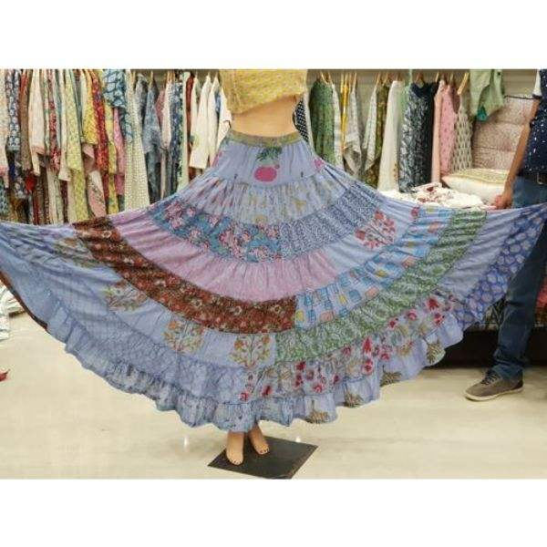 Indian Beautiful multi-color Patch Work 100% Cotton Long Skirt