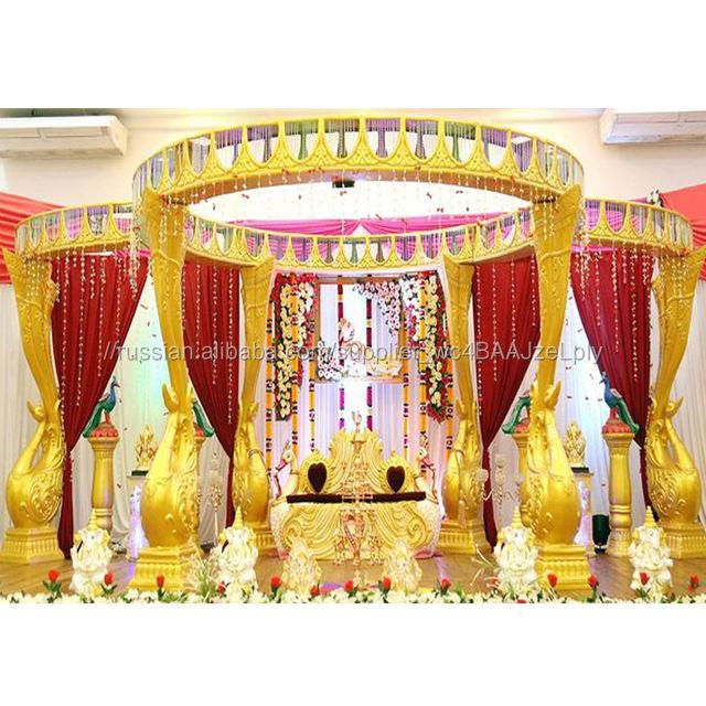 Srilankan <span class=keywords><strong>Золотой</strong></span> Павлин мандап для свадьбы декоративные Южная Свадьба Павлин столб мандап самые Потрясающие