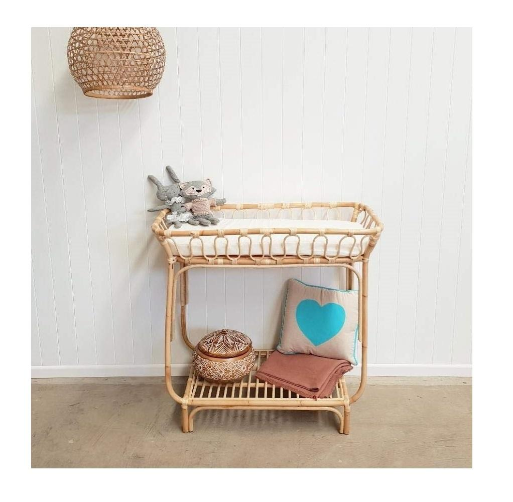Natural woven rattan diaper changing table shelf for baby