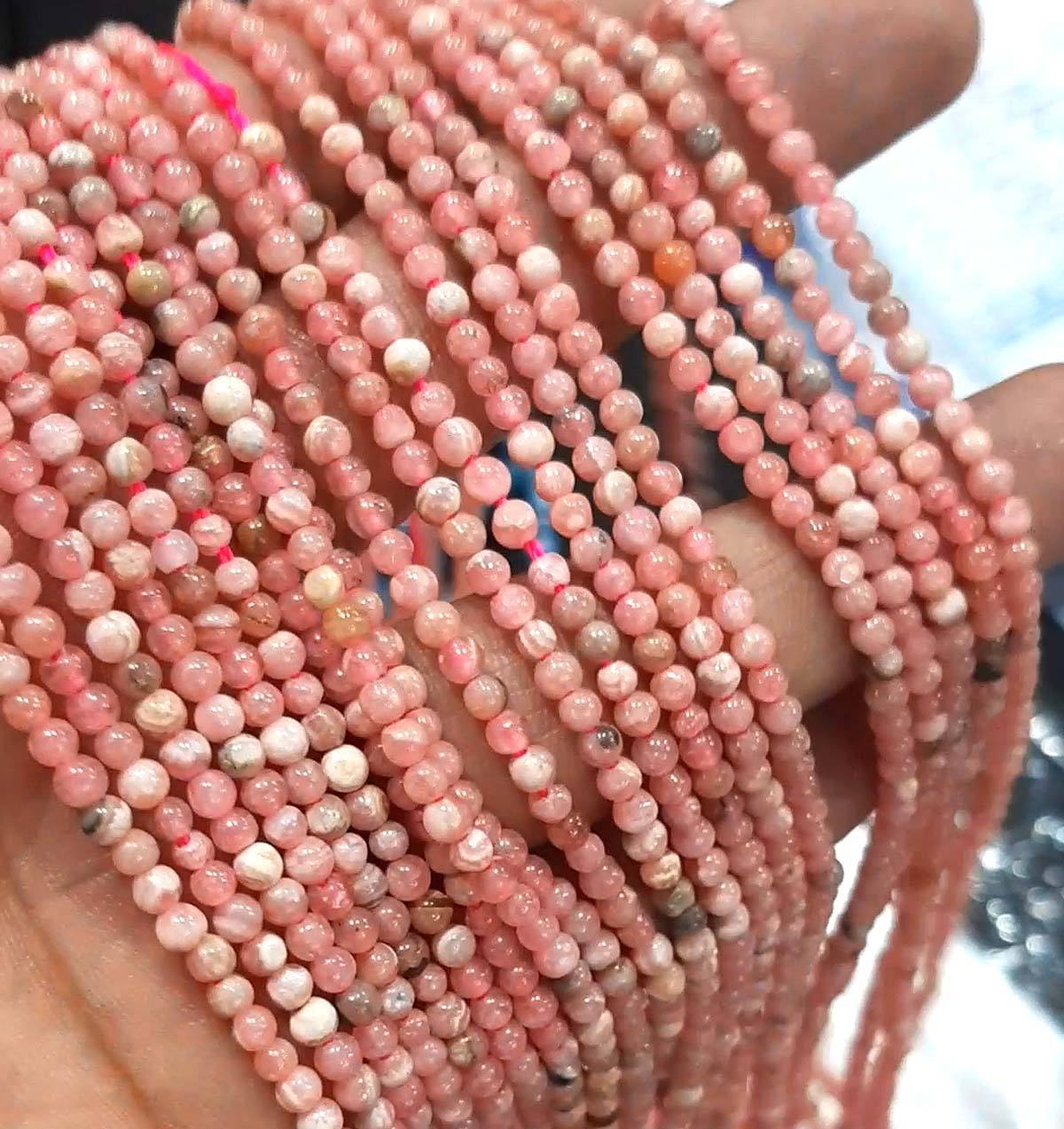 Polished rhodochrosite round cabochon 5mm to 6mm beads gemstone beads strands, antique jewelry stone wholesale supplies