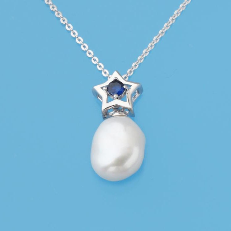 Latest Design 925 Sterling Silver 9.5-10mm White Irregular Freshwater Pearl Necklace with Blue Cubic Zirconia, Rhodium Plated