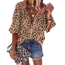 2020 Women's Explosion Style Long Sleeve Leopard Casual Suit Collar Shirt