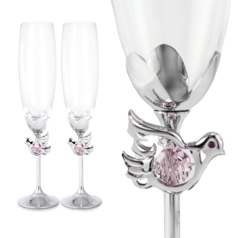 Crystocraft Couple Love Dove Birds Crystal Wedding Toasting K9 Glasses Champagne Flutes Set Gift with Crystals from Swarovski