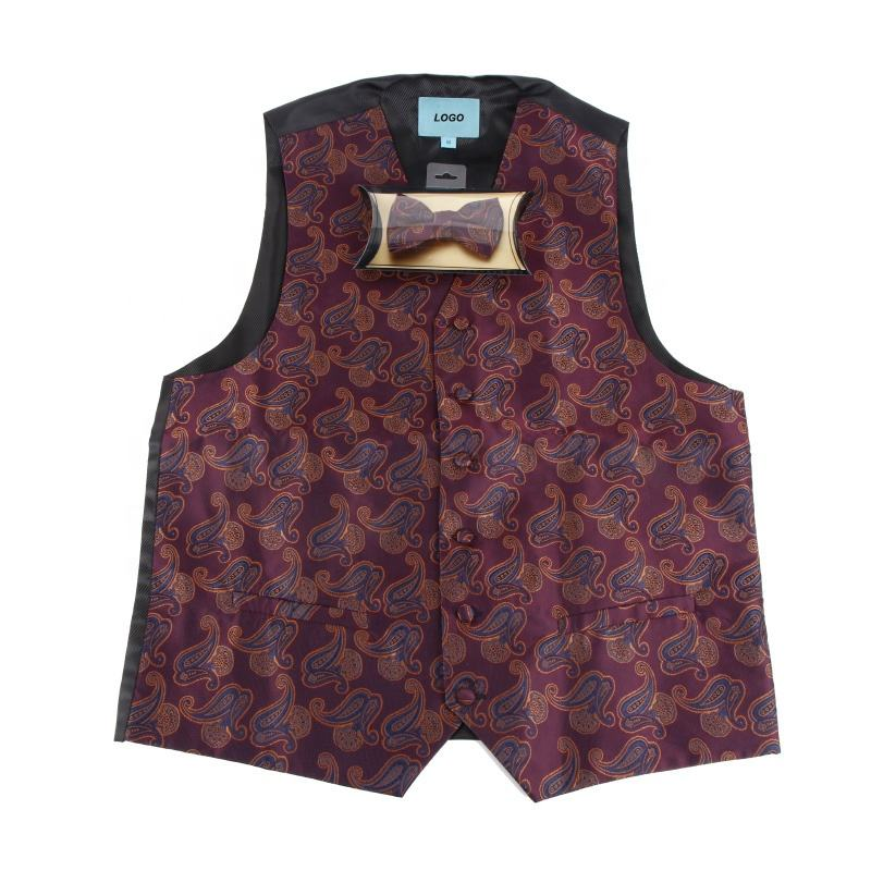 Custom fashion classic polyester black red suits waistcoat men tuxedo vest