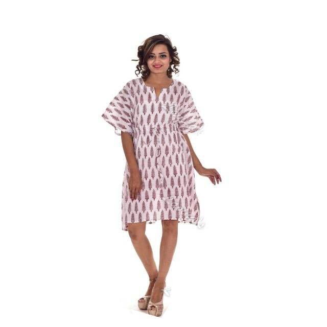 Bridal wedding partywear poncho kaftan womens plus size sexy wholesale summer hippie dresses leaf block print bohemian nightwear