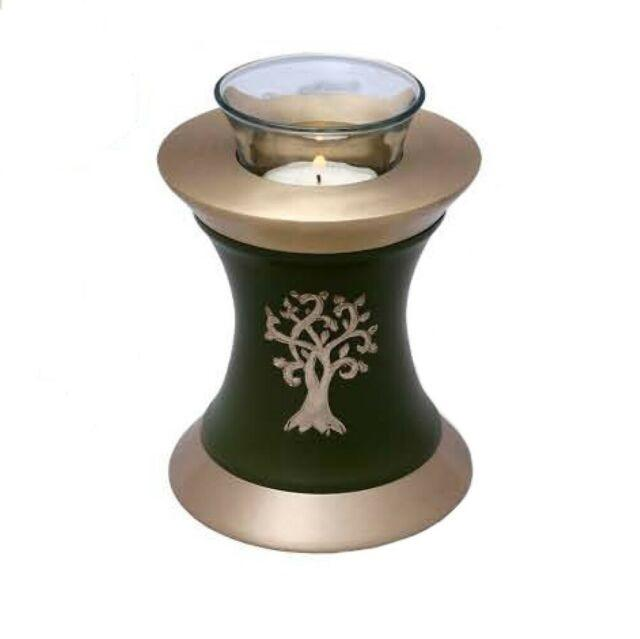 Tea Light Dark Green and Silver Cremation urns for Funeral Ashes Metal Brass/Aluminum