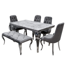 Modern Real Marble Stone Rectangle Dining Tables And 6 Chairs Set