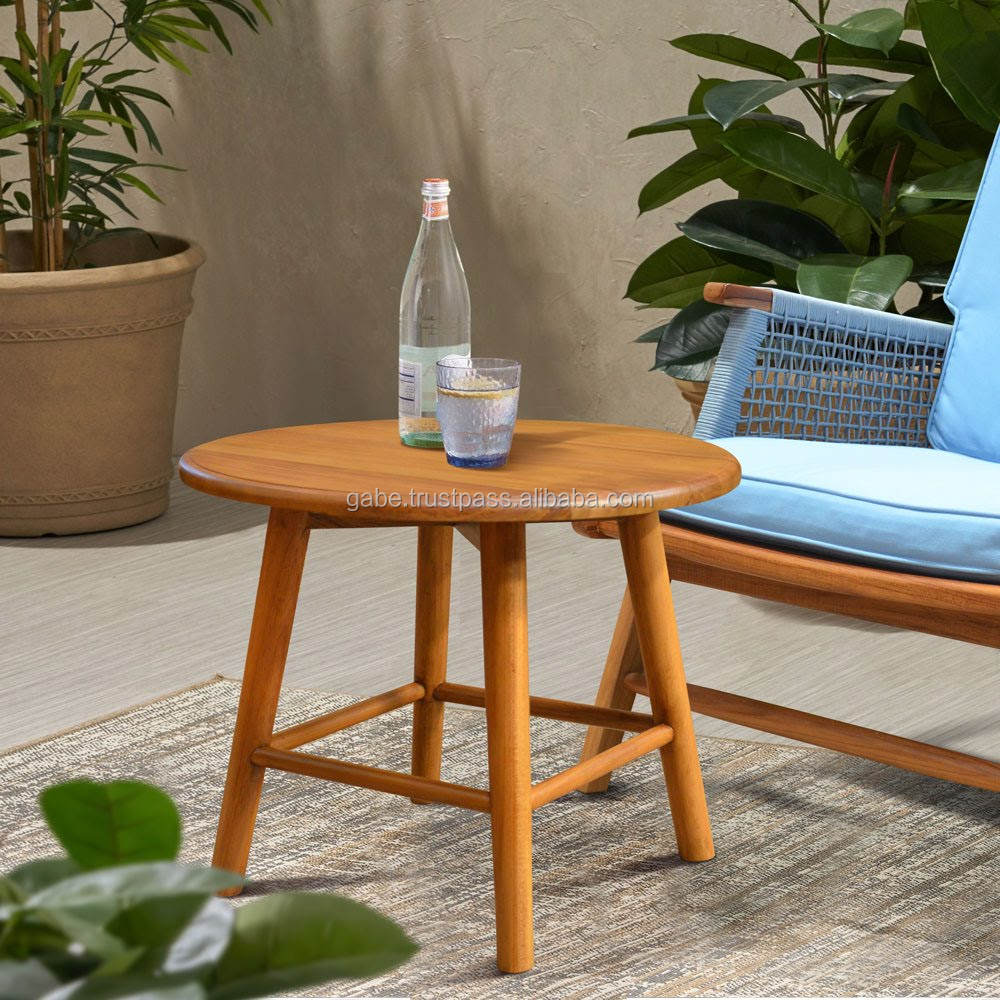 Solid wood side table round teak natural color for Outdoor