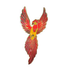 Custom rhinestone eye fire phoenix bird lapel pin