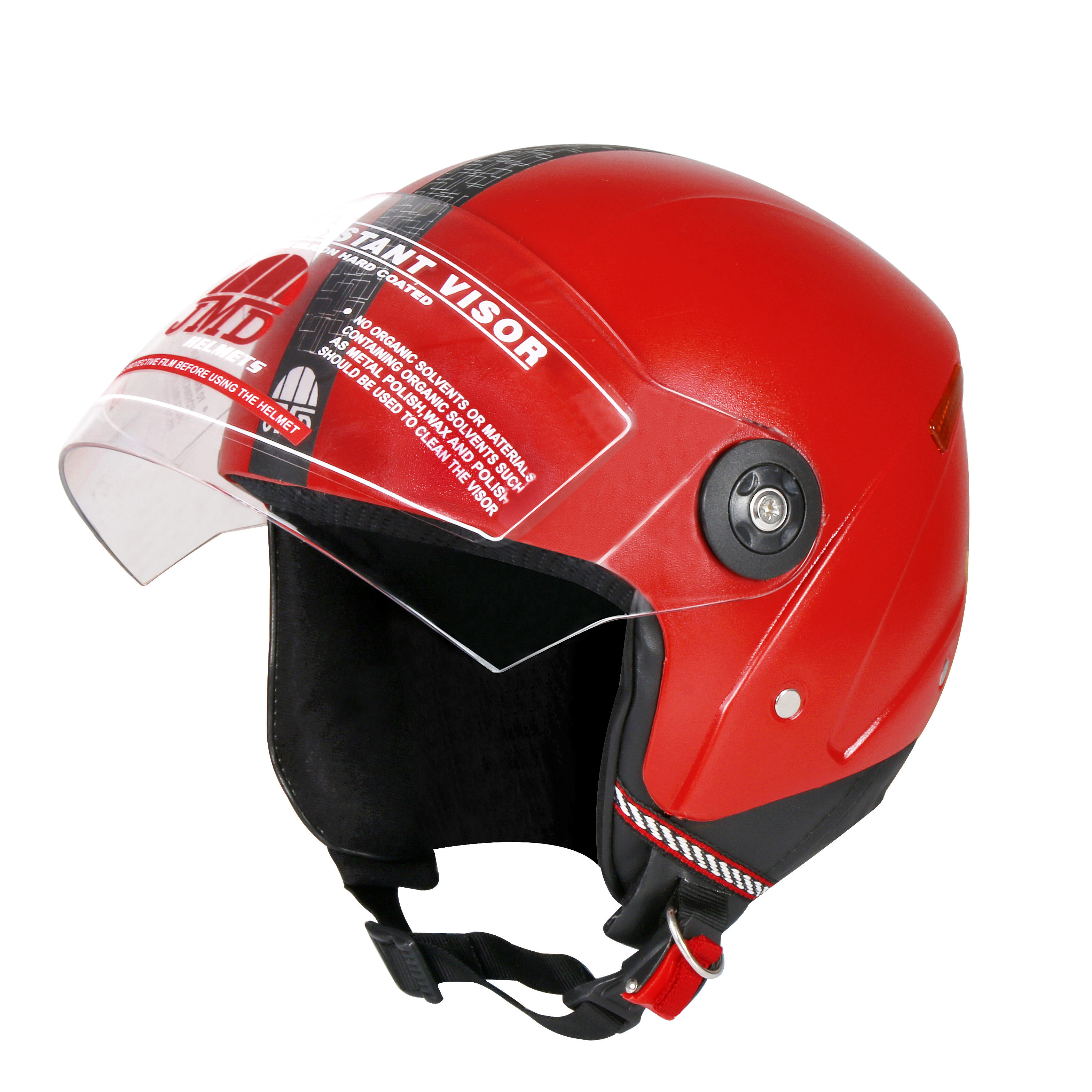 Wonder New Half/Open face Helmet RED with PC Visor & Movable chin guard operated with single lever pull mechanism