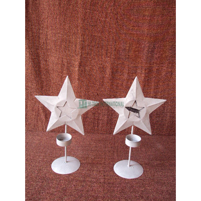 Candle Holders - Metal - Iron - Antique - Star Shaped - T Light - Cast Iron - Wall Mounted - White - Hi-tech International