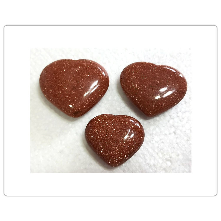 Brown Gold Stone Pub Hearts Shape Worry Stones at Bulk Price